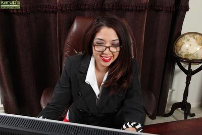 Office slut Elle Perkins is teasing her saggy tits and her hard nipples