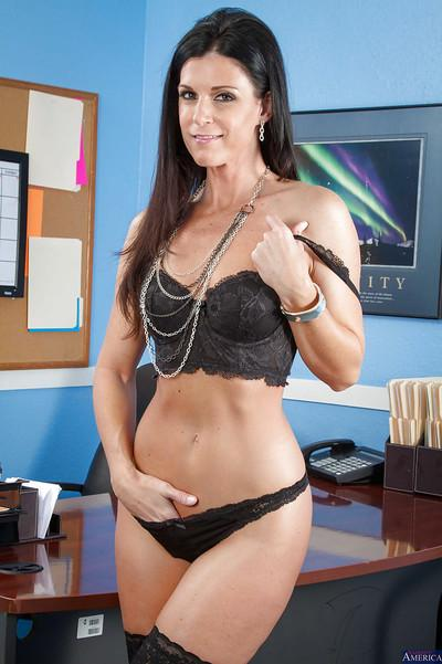 Cute skinny mom India Summer takes off her office clothing after work