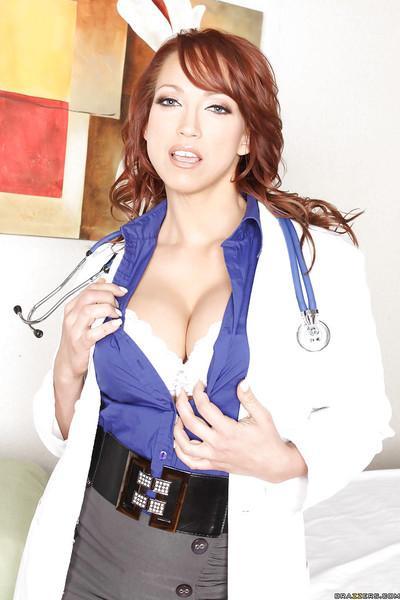 Stunning doctor babe Nikki Hunter stripping off white lingerie