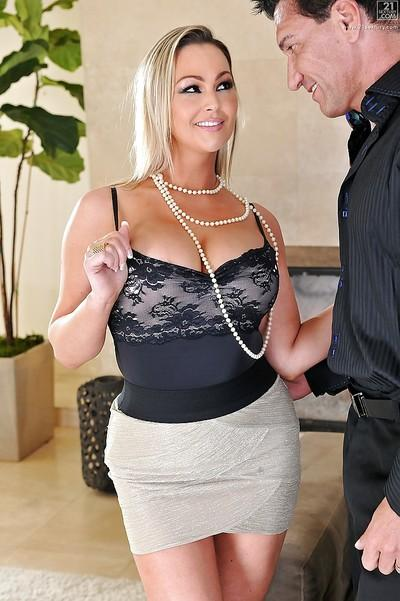 Cowgirl milf Abbey Brooks has tits fuck in a hot skirt and ass fucking