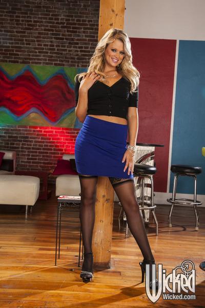 Seductive blonde babes on high heels showcasing their graceful bodies