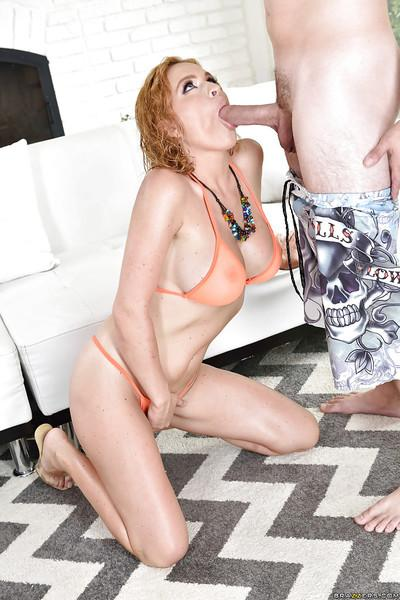 Big tit MILF Krissy Lynn wraps her lips around a large cock before ass fuck
