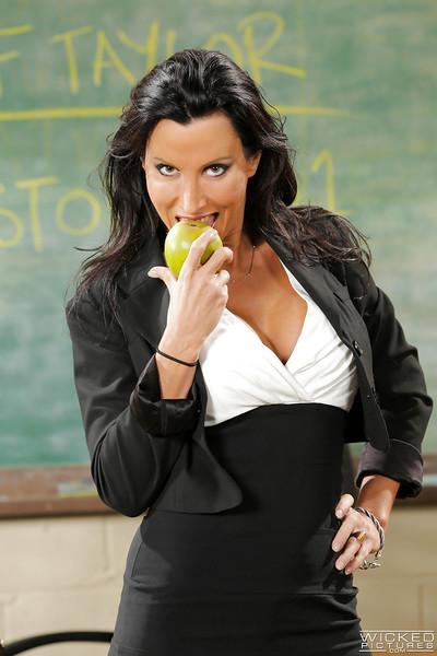 MILF sex teacher Lezley Zen whips out big juggs and masturbates at school