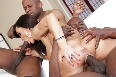 Interracial threesome fucking with astonishing seductive Lisa Ann