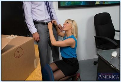 Salacious office slut Ashley Fires gives head and gets shagged hard