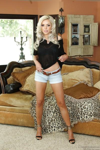 Blonde European born wife Nina Elle spreading for naked photos