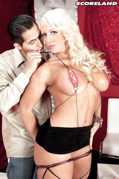Chesty blonde pornstar Alura Jenson taking cumshot after giving blowjob