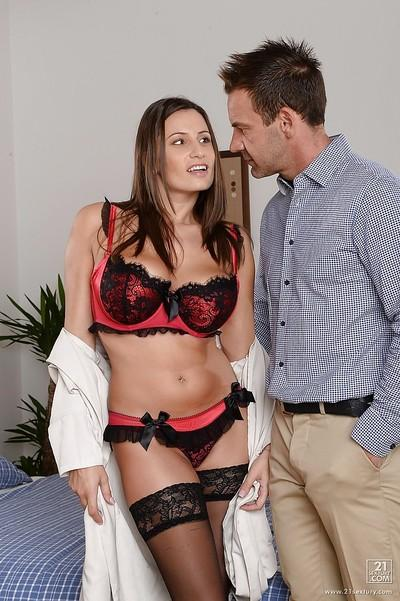 Outstanding model with red high heels is banging in her tight puss
