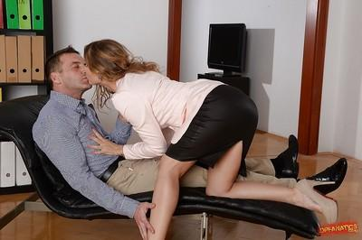 Slutty office worker Sabrina Moore taking hardcore double penetration
