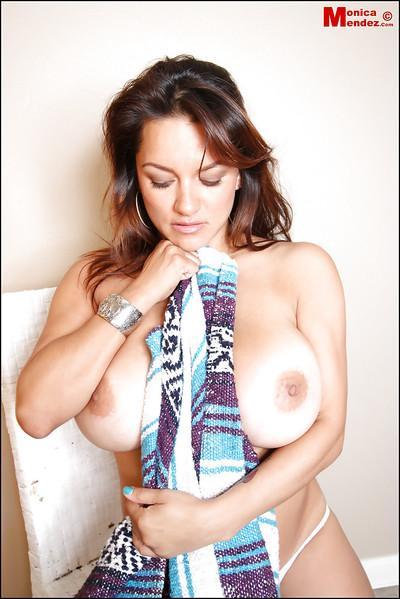 Big-tit Latina Monica Mendez demonstrates her great big boobies