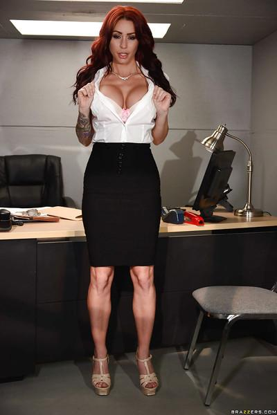 Chesty office worker Monique Alexander flashing upskirt panties at work
