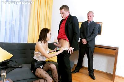 Lusty MILF gets facialized and pissed on after a hard CFNM threesome
