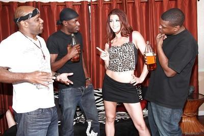 Brunette milf Cici Rhodes enjoys interracial gangbang with some sexy men
