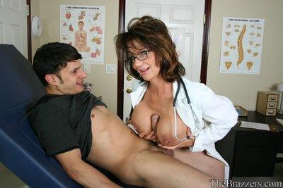 Busty MILF doctor Deauxma gets a hard boner for her cunt