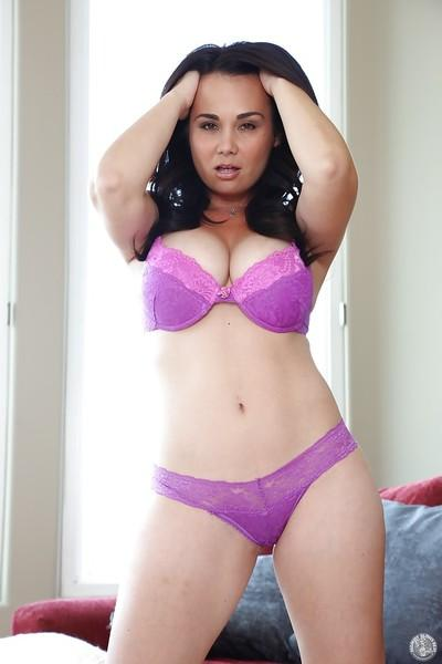 Latina milf Holly West is showing off in violet underwear and high heels