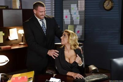 Big busted cougar fucks her office mate for cum on her tongue