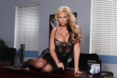 Outstanding blonde office MILF Phoenix Marie showing off her booty
