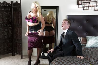 Wonderful milf Alura Jenson has her big tits teased and does blowjob