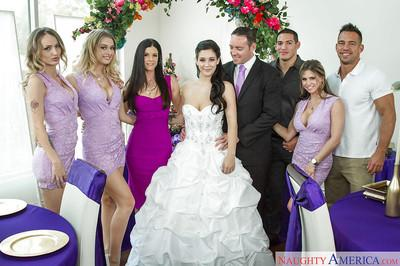Busty bride sucks dick on wedding night and takes external cumshot
