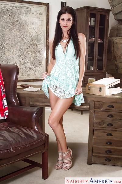 Leggy brunette MILF India Summer undressing for masturbation session
