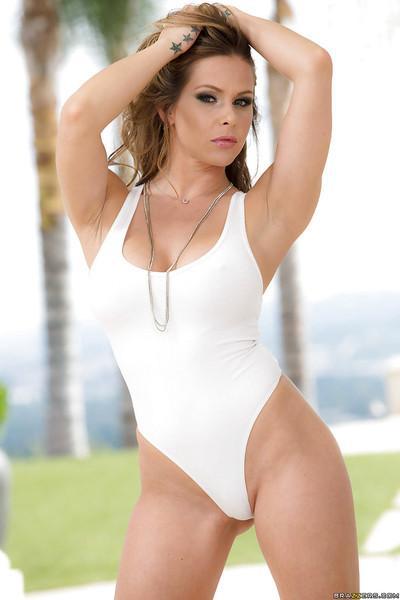 Blonde European pornstar Rachel RoXXX posing outdoors in one piece swimsuit