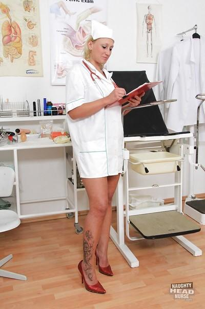 Older blonde nurse Lenny stripping off uniform before masturbation session