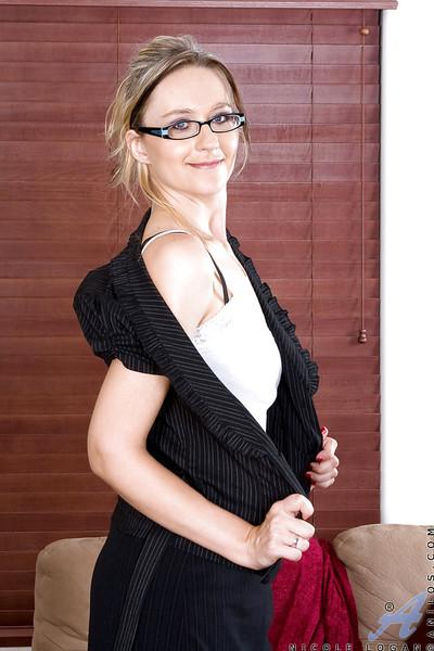Hot mature in glasses stripping to black stockings and masturbating