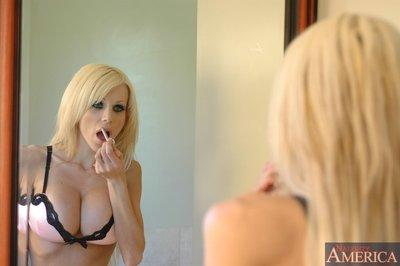 Voluptuous mature hottie Danielle Derek ass fucked in the bathroom