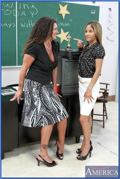 Two horny mature teachers geting off in a hot reality threesome