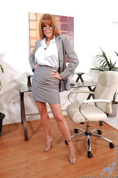 Darla Crane always dresses up slutty for her office work hours. This time she goes with blue lingerie and sexy high heels.