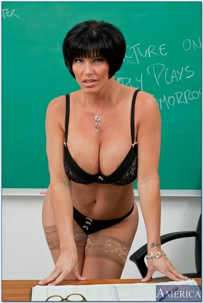Strict mature teacher Shay Fox strips to lace top nylon stockings