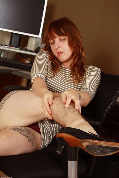 Hairy secretary Velma flashing panties and spreading incredible bush