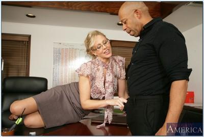 Mature teacher in glasses Julia Ann taking black cock in her tight cunt
