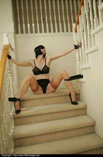 Blindfolded and bound mature lady in lingerie gets tortured by femdom