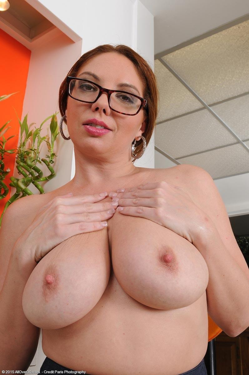 Busty teacher shows off her nice naturals