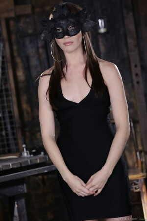 Babe in black mask Dana DeArmond seductively takes off her black dress