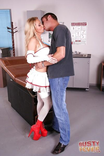 Horny nurse Nikki Benz is getting her ass fucked hard with an huge cock