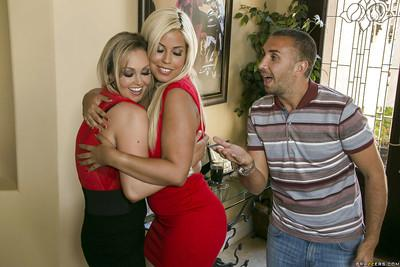 Clothed ladies Abbey Brooks and Bridgette B fucked by one guy
