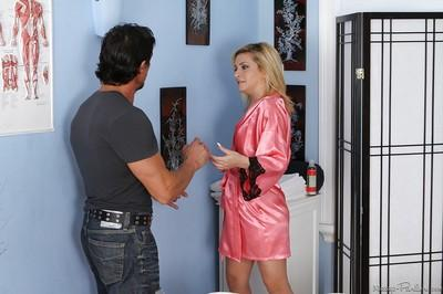 Winsome blonde milf Caprice Capone is fiddling with big bone