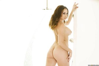 Alluring babe Chanel Preston gets naked and takes a shower in high heels