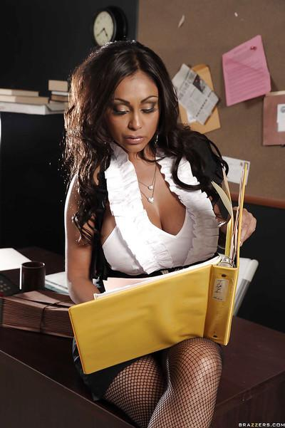 Curvy indian MILF Priya Anjali Rai stripping in the office
