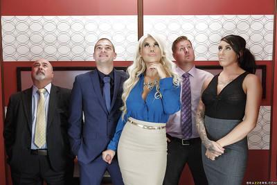Chesty blonde MILF Bridgette B having massive melons suckled at work