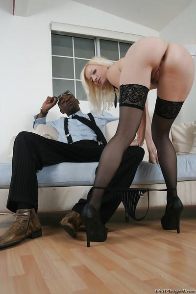 Sexy blonde in stockings Heidi Hanson is into interracial hardcore pounding
