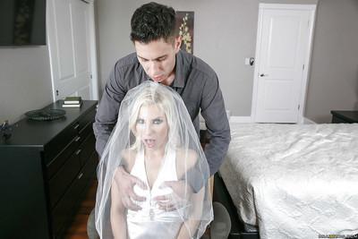 Blonde bride Ashley Fires taking cumshot in mouth on wedding night