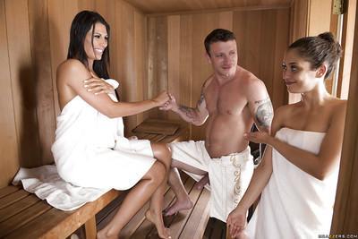 Tall brunette MILF Makayla Cox jerking fat cock in sauna for facial cumshot