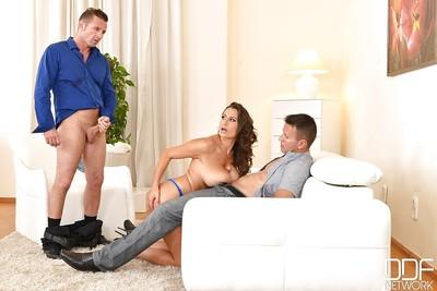 Chesty MILF Sensual Jane taking cumshot on huge boobs from two cocks
