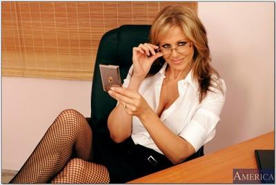 Luscious office MILF in gartered stockings Julia Ann fucked on her desk