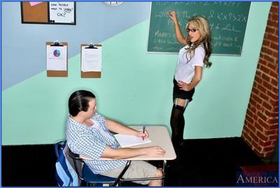 Stunning MILF teacher in glasses and stockings Sarah Jessie fucking
