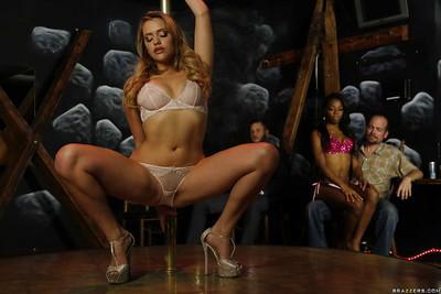 MILF pornstar Mia Malkova does a sexy striptease on stripper pole