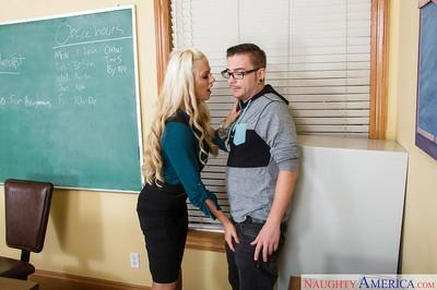 Blonde Milf teacher Holly Heart blowing cock and swallowing cum